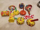 LOT OF (10) VINTAGE TIN PARTY NOISEMAKER CLACKER TOYS~Made in USA
