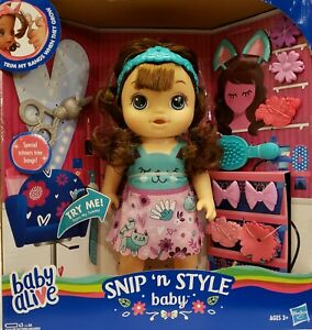 Baby Alive Interactive Snip 'n Style Baby Doll Speaks 35 Phrases +Sounds, Age 3+