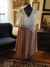 BEAUTIFUL POLY CHIFFON OFF-WHITE LACE & OLD ROSE PLUS MOTHER-FORMAL DRESS S XXXL
