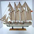 "Vintage Model Ship J.S. Elcano Wooden with Cloth Sails Spanish Flag 21"" x 17"""