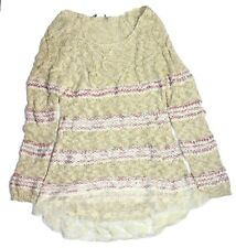 American Rag Women's NYC Striped Lace Tunic Sweater, Oatmeal Combo- Beige, XL