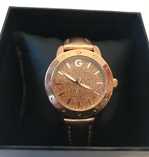 Guess Ladies Metallic Glitter Leather Watch Rose Gold  NWT $79.50