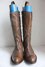 Vic Matie Elegante High Boots Stiefel Voll Echtleder mit Nieten Braun Eu:38-38,5
