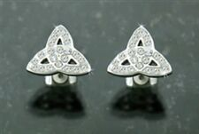316 L Stainless Steel White Cz Trinity Knot Post earrings