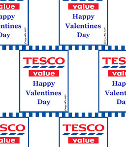 Funny TESCO VALUE HAPPY VALENTINES DAY Wrapping Paper A1, A2 or A3 - party, joke