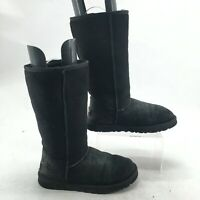 UGG Womens 7 Classic Tall Pull On Winter Boots Black Leather Sheepskin Wool 5815