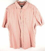 Tommy Bahama Cotton Orange Checked Short Sleeve Button Front Casual Shirt Sz L