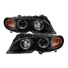 Spyder Projector Headlights LED Halo - Black for 02-05 BMW E46 3-Series 4DR