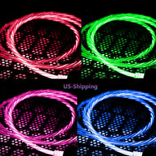 Flowing LED Micro USB Type C Charging Data Cable Cord for Samsung Galaxy Phones