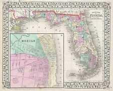 1867 Mitchell Map Of Florida (con / Móvil, Alabama Inserto)