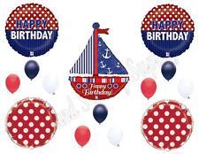 NAUTICAL SAILBOAT Ahoy Birthday Party Balloons Decoration Supplies Ocean Yacht