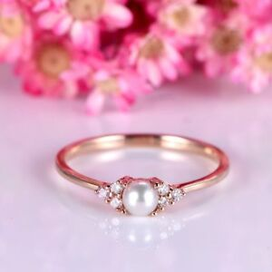 1Ct Round Simulant Pearl Diamond Engagement Dainty Ring Rose Gold Finish Silver