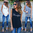 New Vest Sleeveless Letter Print Casual Women Fashion T-Shirt Summer