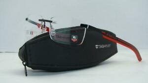 Tag Heuer Spring Rubber TH3842 002 Black & Red Rimless Eyeglasses Frames Size 56