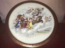 Beautiful Antique Porcelain Plate With Figural Female Scene With Chariot,Angels