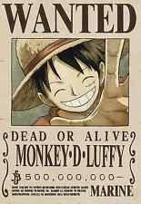 Poster A3 One Piece Mokey  D Luffy Recompensa Cartel Se Busca Wanted New Bounty