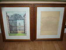 Framed Picture of Hatfield House with Description. Kay Stewart. Pair.