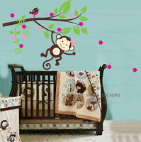 Monkey Tree Bird Girls Wall Sticker Art Decal Baby Kids Bedroom Nursery Decor