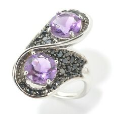 Sterling Silver 4.93ctw African Amethyst & Black Spinel Ring, Size 7