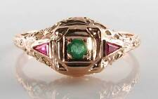 DIVINE 9CT 9K ROSE GOLD EMERALD RUBY ART DECO INS FILIGREE RING FREE RESIZE