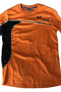 Boys Size M 8, 10 Orange And Blues Fila Performance Active Tennis Golf  Tee #751