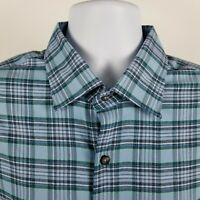 Peter Millar Crown Sport Mens Blue Check Plaid L/S Dress Button Shirt Sz XL