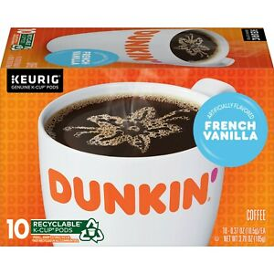 Dunkin Donuts FRENCH VANILLA Coffee 10 Count K-Cup Pods Keurig ** BB 11/2021 **