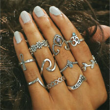 10Pcs/Set Retro Gift Arrow Moon Midi Finger Knuckle Rings Boho Fashion Jewelry