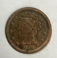 1856 Braided Hair Large Cent 1¢ Good
