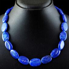 360.50 Cts Earth Mined Single Strand Blue Sapphire Oval Beads Handmade Necklace