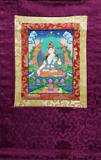 White Tara Thangka, hand-painted Buddhist painting with wall hanger