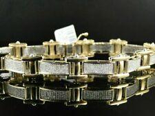 Gorgeous 5.52Ct Round Cut D/VVS1 Diamond 14K Yellow Gold Over Pave Mens Bracelet
