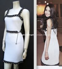 CHANEL 14P 2014  WHITE  LESAGE CHAIN LINK TRIM  BELT SLEEVELESS DRESS-FR36  NEW