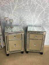 Pair of Diamond Crush Mirrored Sparkly Crystal 2 Drawer Bedside Cabinet Table