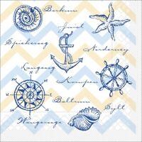 Serviette Maritim in blau aus Tissue 33 x 33 cm, 100 Stück - Leuchtturm