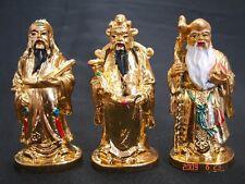 Golden Feng Shui Three Deitie Fuk Luk Sau Gods Statue