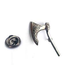 Plata Viking Hacha Pin De Solapa Insignia Histórica Guerra Batalla Vikingos armas Insignias Nuevo