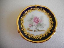 LIMOGES FRANCE ROSE de FRANCE PIN DISH w/ STAND REHAUSSE MAIN F90 MULTI COLOURED