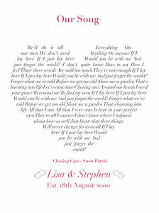 Song lyrics love heart personalised print - any song! Valentines Gift