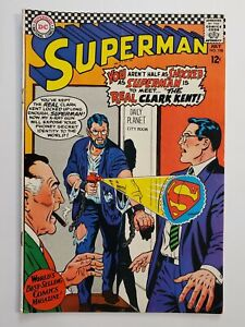 "SUPERMAN #198 (VG+) 1967 ""THE REAL CLARK KENT!"" SILVER AGE DC"