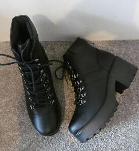 Koi Black Lace Up Chunky Sole Block Heel Boots Size UK 7 EU 40