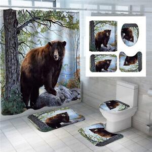 3D Animals Black Bear Shower Curtain Set Bath Mat Lid Toilet Seat Cover Rug Set