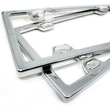 2 Chrome Metal Custom License Plate Tag Frames & Screw Caps for Auto-Car-Truck
