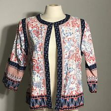Women's CHOICES Multi Colored Patchwork Type Design Lightweight Jacket Size M