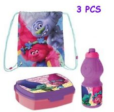 Trolls Gym SET SACO/SPORT BAG 38CM+ LUNCH BOX + SPORT BOTTLE. New. GIFT