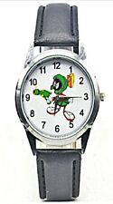 Looney Tunes Marvin The Martian Black Leather Band Wrist Watch