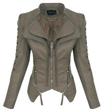 Rock Creek Damen Kunstleder Jacke Übergangs Jacke Leder Optik Bikerjacke D-365
