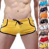 New Men's Breathable Swim Trunks Summer Sexy Boxer Briefs Swimwear Swimsuit