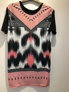 Ladies Summer Dress Tesco F&F Aztec Short Sleeved Dress Size 8 NEW