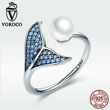 Voroco Mermaid's Tear 925 Sterling Silver Open Ring With Pearl & Blue CZ Jewelry
